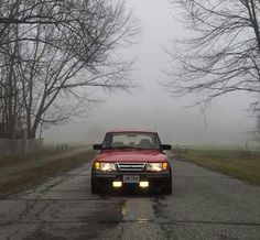 The Saab 900 Turbo With Foglamps In The Swedish Fog