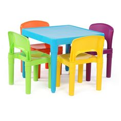 24\'\' Square Adjustable Plastic Kids Activity Table With 4 Chairs ...