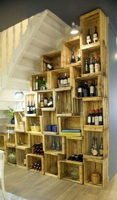 Great way to make floor to ceiling shelves that adds a lot of character. Could even be used as a wall accent wall.