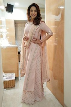 Madhuri Dixit in Beige color Anita Dongre Dress Indian Attire, Indian Ethnic Wear, Indian Suits Punjabi, Punjabi Suits Party Wear, Party Wear Indian Dresses, Ethnic Suit, Punjabi Salwar Suits, Pakistani Suits, Eid Dresses