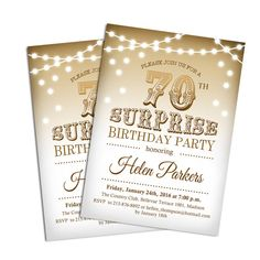 70th Surprise Birthday Party Invitation / Any Age / Elegant Gold / Fairy Lights / Digital Printable Invitation / Customized