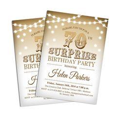 70th Surprise Birthday Party Invitation / Any Age / Elegant Gold / Fairy Lights / Digital Printable Invitation / Customized