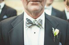 plaid gray and yellow bow ties