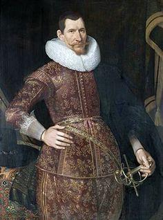 """Dit is Jan Pieterszoon Coen. Hij is geboren in Hoorn, op 7 januari 1587 en is gestoren op de Batavia (zijn schip) 21 september 1629. Hij was in Nederland bekend om zijn agressieve manieren.Ook werd hij gezien als iemand met een groot  organisatietalent. Hij is de kapitein van het schip: ''Batavia""""."""