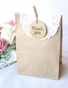 Brown Kraft Party Bags Lolly Loot Bag | Gift Bag Paper Doilies Pegs Thank You 25