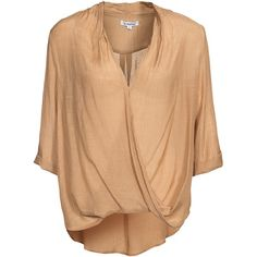 Glamorous Overlay Blouse ($46) ❤ liked on Polyvore featuring tops, blouses, blouses & shirts, tan, womens-fashion, v-neck tops, three quarter sleeve shirts, wrap shirts blouses, tan shirts and 3/4 length sleeve shirts