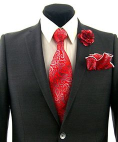 Men's Red Paisley Floral Necktie Tie, Round Pocket Square and Lapel Pin Box Set Easter Suit, Pin Box, Guys Be Like, Lapel Pins, Mens Suits, Paisley, Pocket Squares, Neckties, Ps