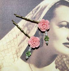 Flower Bobby Pins Pink Rose Hair Pins Rose Hair by flonightingales