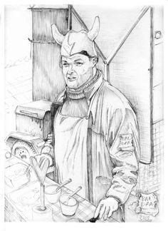 Derek Arvi Ewen, from DEREKU BURGER, TWO RESTAURANTS IN ESTONIA. SAAREMAA ISLAND-TALLINN: Best Burgers of the country. Drawing by Baldaa.