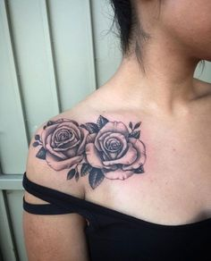 Pair of Roses on Shoulder by Jose Villa, love the placement exactly what i want for my rose tattoo with ari and leens bday #RoseTattooIdeas