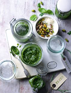 Pistachio pesto - delicious stirred into freshly cooked spaghetti. http://www.sainsburysmagazine.co.uk/recipes/sides/sauces/item/pistachio-pesto
