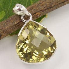 Natural LEMON QUARTZ Checker Gemstone Trendy Pendant 925 Sterling Silver Jewelry #Unbranded #Pendant