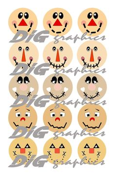 DIGITAL Bottlecap Images-Scarecrow Faces by GraphicsDig on Etsy Thanksgiving Crafts, Fall Crafts, Holiday Crafts, Diy And Crafts, Scarecrow Face Paint, Scarecrow Drawing, Fall Halloween, Halloween Crafts, Halloween Decorations