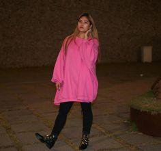 Oversized Sweatshirts Dress with Fleece on www.yeseoul.com