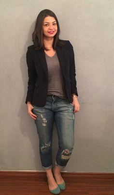 Look do dia Minimalista! Blazer, t-shirt cinza, calça boyfriend e sapatilha