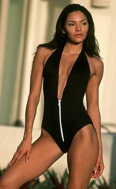 Low cut black one piece bathing suit with zipper front. Maillot de  bainMaillotsBikini À Deux ... ae0490ecc806