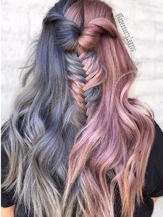 split hair dye / two-tone hair
