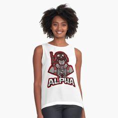 'I'm The Alpha Sleeveless Top by CavemanMedia Alpha Apparel, Mask For Kids, Tshirts Online, Mom And Dad, Chiffon Tops, Vikings, Tank Tops, Printed, Lady