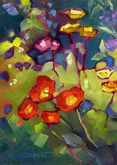 Kmschmidt ACEO Ed Print Poppy Garden Floral Art Red Poppies Flowers | eBay