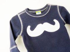 Mustache Baby Onesie Navy Blue Newborn 3m by TrashN2Tees by TNTees, $14.50