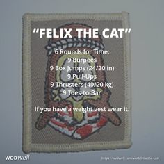 """""""FELIX THE CAT"""" is a British Tribute WOD: 6 Rounds for Time: 9 Burpees; 9 Box Jumps (24/20 in); 9 Pull-Ups; 9 Thrusters (40/20 kg); 9 Toes-to-Bar; If you have a weight vest wear it."""