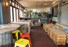 Repurposed crate heaven! Homely, rustic vibe at Crate Bar & Pizza.