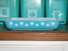 Pyrex Turquoise Snowflake Space Saver by thetrendykitchen on Etsy, $24.95