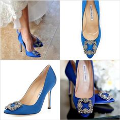 The real McCoy's:  Carrie Bradshaw's coveted blue Manolo Blahnik's.  Now selling for $965 at Neiman's.