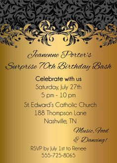 75th Birthday Invitations Parties 65th Adult Party Gold