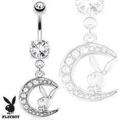Official Playboy Bunny Belly Ring with Paved Gemmed Moon Dangle - Licensed Playboy Navel Jewellery. Find it at www.tummytoys.com.au