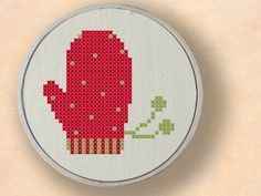 Red Mitten Cross Stitch