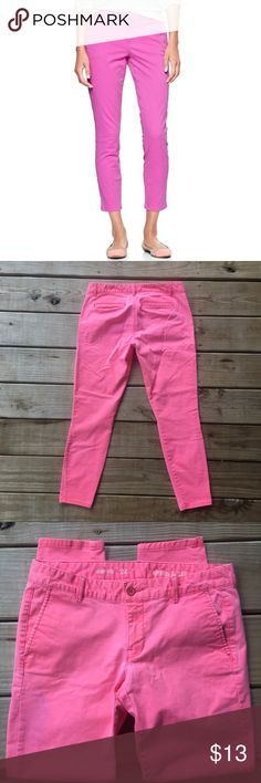 Pink Gap Skinny Mini Khakis Super cute and in excellent used condition! Has 2 light garment purple stains (see last 2 pics) that easily blend in. Other than that these are flawless! GAP Pants Skinny