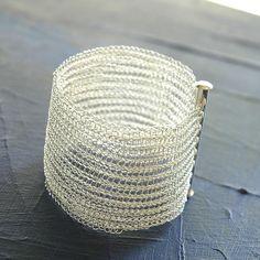 Silver crochet wire bracelet