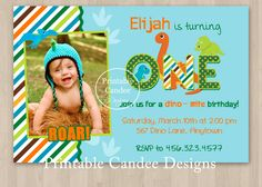 Boy Dinosaur Birthday Invitation - Custom Printable. $10.00, via Etsy.