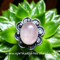Rose Quartz Petals Crystal Gemstone Sterling Silver Ring