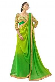 Foxy Green Shimmer With Faux Georgette Saree By Triveni Sarees