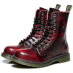 Burgundy Leather Lace Up Dr. Martens Motorcycle Fashion Boots Men SKU-1100977