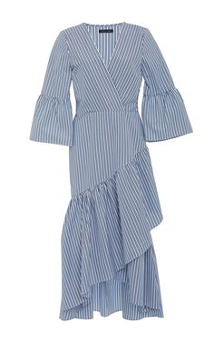 Wrap Ruffle Dress by MDS STRIPES for Preorder on Moda Operandi