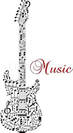 Stock vector of 'Guitar silhouette with musical notes and word - Music - for any art design. Isolated on white background'
