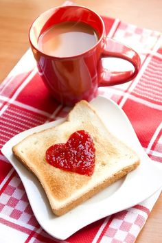 Happy Valentine's Day! Use a cookie cutter to form heart shape out of strawberry jam...