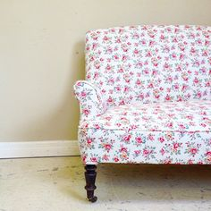 Very old simple French sofa reupholstered in pretty Cath Kidston fabric for a client / photo doesn't do it justice / #french #frenchfurniture #cathkidston #upholstery #reupholstery #sofa #frenchfinds #chair #interior #ideas #inspiration