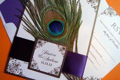 Peacock Wedding Invitation. $7.25, via Etsy.
