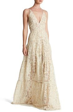 Free shipping and returns on Dress the Population Lace Fit & Flare Maxi at Nordstrom.com. Colorful lace traced in gold enchants and delights a décolleté evening gown made extra voluminous by a flared, paneled skirt.