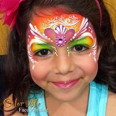 Rainbow Princess One-Stroke Face Painting - Color Me Face Painting - Vanessa Mendoza