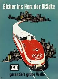 TEE Design, railcars on Trans Europ Express posters Train Posters, Railway Posters, Bus Travel, Train Travel, Vintage Boats, Vintage Trains, Train Map, Rail Transport, Train Times