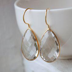 Crystal Quartz Gold Teardrop Earrings