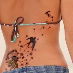Dandelion Tattoo, like the dandelion, not necessarily the birds.