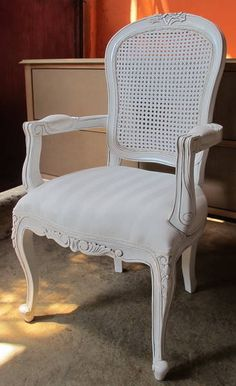 French Provincial Antique White Arm Chair