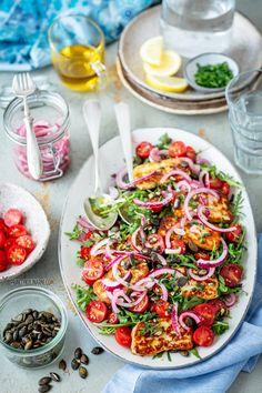 South Beach Diet, Polish Recipes, Halloumi, Pasta Salad, Love Food, Grilling, Salads, Bbq, Food And Drink