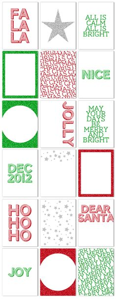 Printable Christmas Glitter 3x4 Cards, perfect for December Daily and Project Life. 18 different designs for $3.99.